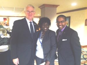 From left, Mayor Mark Luttrell, Gail Tyree and Dr. Kenneth Robinson