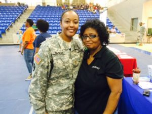 From left, Major Alicia Waters and United Way staff member Phyllis Hunt